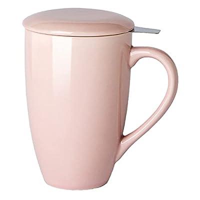 GBHOME Tea Mug with Infuser and Lid, 17 OZ Large Tea Strainer Cup with Tea Bag Holder for Loose Tea, Ceramic Tea Steeping Mug for Women/Men/Office/Home/Gift, Pink