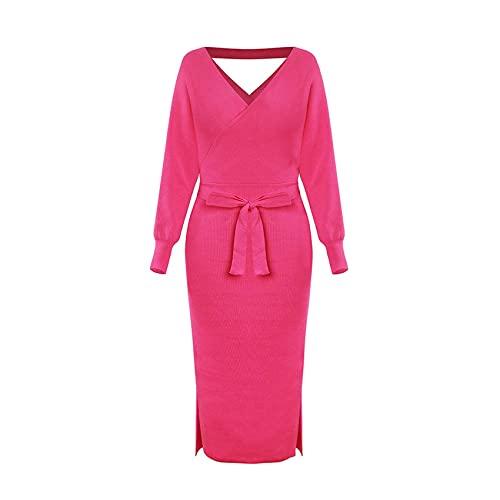 WJANYHN Gebreide jurk voor herfst en winter, slanke dubbele V-hals, lange mouwen, open rug, modieus en elegant