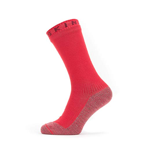 SealSkinz Waterproof Warm Weather Soft Touch Mid Length Calcetín, Hombre, Red Marl, Large