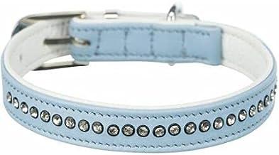 Trixie halsband hond active comfort met strass steen leer lichtblauw (27-33X1,5 CM)
