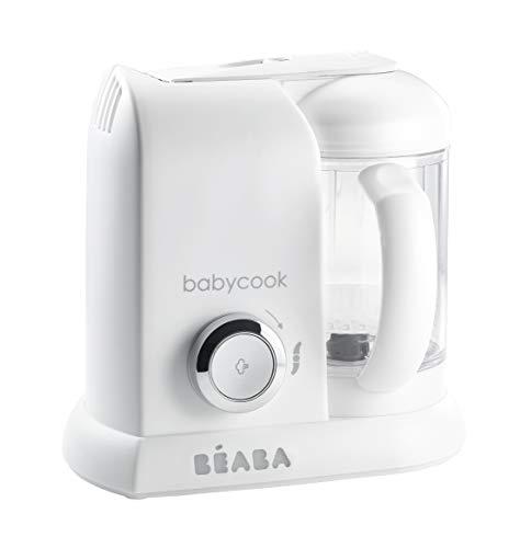 BÉABA - Babycook Solo - 4 in 1 Babynahrungszubereiter - Schonender Dampfgarer - Schnelles Dampfgaren in 15 Minuten - Glaskrug und Garkorb aus Edelstahl - Weiss/Silber