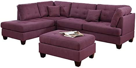 Best Bobkona Sectional Sofa Set Purple