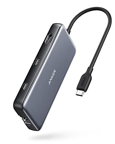 Anker PowerExpand 8-in-1 USB-C PD 10Gbps データ ハブ 100W USB Power Delivery 対応 USB-Cポート 4K出力対応 HDMIポート 10Gbps 高速データ転送 USB-Cポート USB-Aポート 1Gbps イーサネット microSD&SDカード スロット搭載 MacBook Pro iPad Pro対応