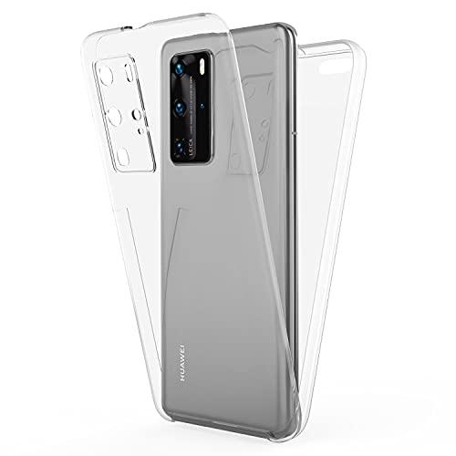 NALIA 360 Grad Handyhülle kompatibel mit Huawei P40 Pro Hülle, Full-Cover Silikon Bumper mit Bildschirmschutz vorne Hardcase hinten, Komplettschutz Dünn Fullbody Hülle R&um Handy-Tasche - Transparent