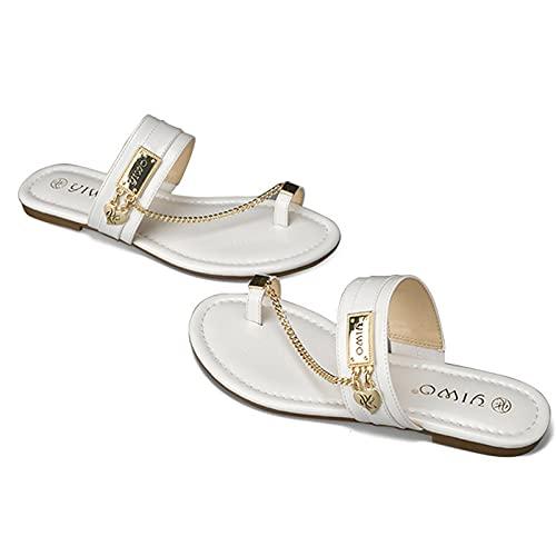 HLDJ Sandalias para Mujer Chanclas De Playa Sandalias Planas Blancas con Diapositivas Zapatos De Verano Vintage,Blanco,EU35 US5.5 UK3.5
