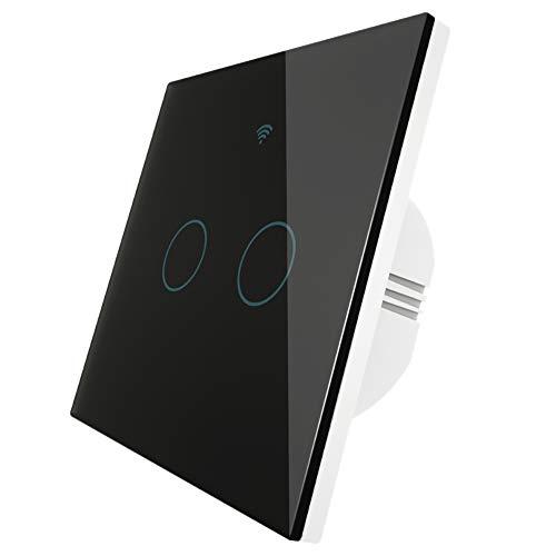 Gfhrisyty Interruptor de Prensa WiFi Interruptor de Luz de Pared Inteligente Tipo UE Control Remoto InaláMbrico Life/Tuya Trabaje con Alexa Home