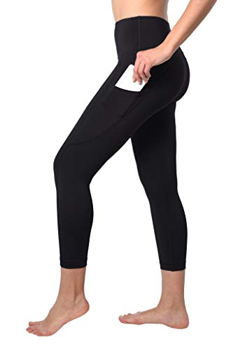 90 Degree By Reflex Squat Proof Side Phone Pocket Yoga Capris - High Waist Cropped Leggings - Black - Medium