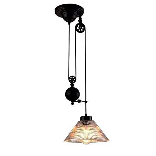 MAMINGBO Shade industrial Polea luz pendiente de cristal de la vendimia creativa Altura colgante ajustable de la lámpara de Pasillo Comedor café de la barra del club