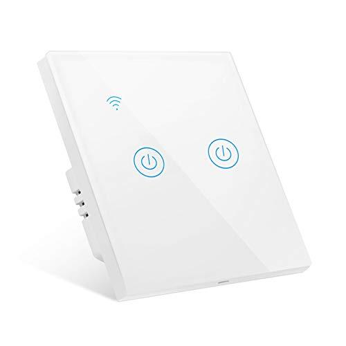 Interruptor de Pared Wi-Fi, Interruptor Luz WiFi 2 Vías Interruptor Inteligente compatible...