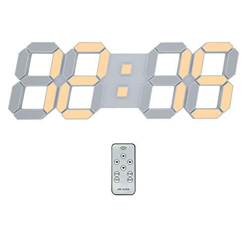 デジタル時計 LED時計 壁掛け時計 3D 15インチ 音なし 目覚まし時計 リモコン付きナイトランプ年/月/日温度表示暖かい黄色のキッチン時計、置き時計(ACアダプター付属無し)KOSUMOSUACD-215