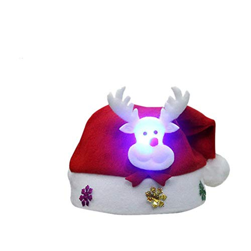 Jfs Glowing Christmas Hat Dibujos Animados Papá Noel Gorras Chapeau DecorationHome Party Props, Glowing Kids Elk
