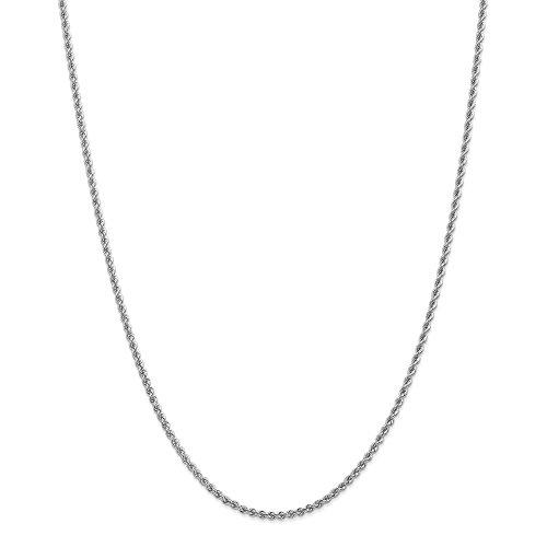Diamond2Deal Damen 14K Weiß Gold 2,25mm Handgefertigt Regular Seil Kette