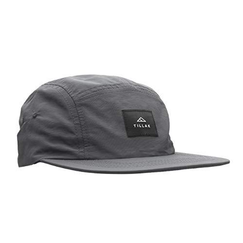 Tillak Wallowa Camp Hat, Lightweight Nylon 5 Panel Cap with Snap Closure (Basalt Grey)