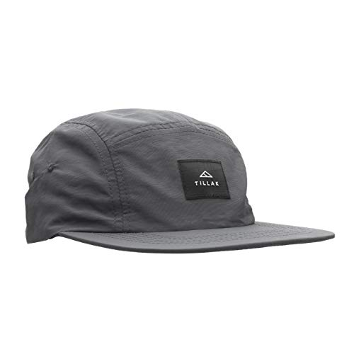 Tillak Wallowa Camp Hat, Lightweight Nylon 5 Panel Cap with Snap Closure (Basalt Grey)