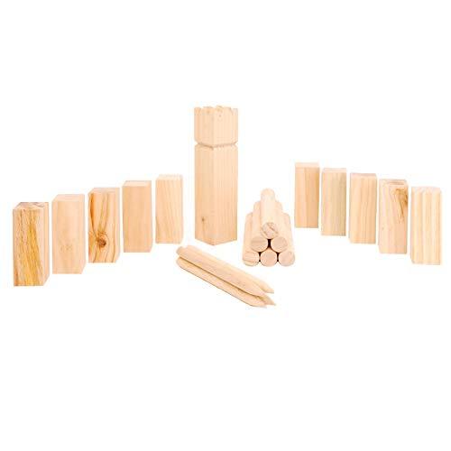 KiLiMANDA.de Kubb Spiel, Schwedenschach, Wikingerspiel, Bauernkegeln, Wikingerkegeln, aus Kiefernholz, mit Netz-Tasche