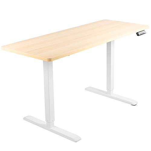 VIVO Electric 60 x 24 inch Stand Up Desk, Light Wood Solid One-Piece Table Top, White Frame, Height Adjustable Standing Workstation with Memory Preset Controller (DESK-KIT-1W6C)