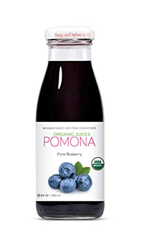 POMONA Organic Pure Blueberry Juice, Cold Pressed Organic Juice, Non-GMO, No Sugar Added, Not from Concentrate, Gluten Free, Kosher Certified, Preservative Free, 8.4 oz Bottles, Pack of 12