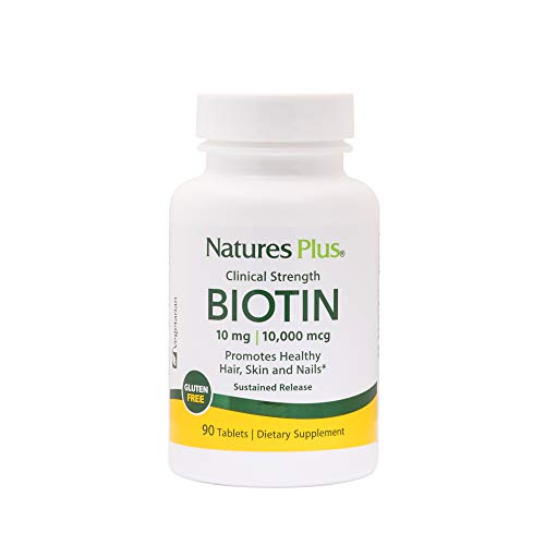 NaturesPlus Clinical Strength Biotin, Sustained Release - 10 mg, 90 Vegan Tablets - High Potency Vitamin B7, Supports Skin, Nail & Hair Growth, Energy Booster - Vegetarian, Gluten-Free - 90 Servings