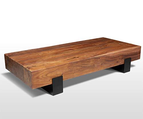 AISER Royal Extravaganter Vollholz Palisander Echtholz Couchtisch -Montreal- 130 x 60 cm aus schön gezeichnetem Sheesham-Holz mit schwarzen Metall-Beinen in modernem zeitlosen Design