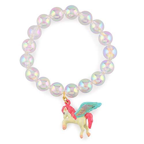 Monkimau meisjesarmbanden Pegasus paard van messing met synthetische ballen lichtblauw handgeschilderd
