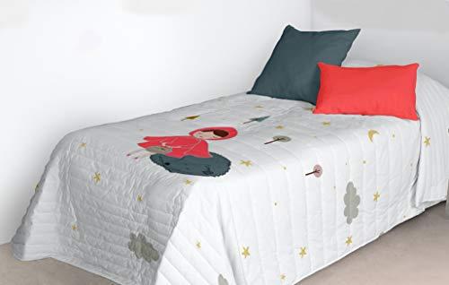 Mercato House - Colcha Bouti Infantil Caperucita Roja/Colcha Cama 90/Colcha Microfibra, 180x260cm