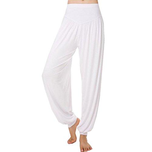 Cayuan Mujer Pantalones Bombachos Harem Pantalón Polainas Holgados Yoga Pilates Pantalones de Modal Blanco