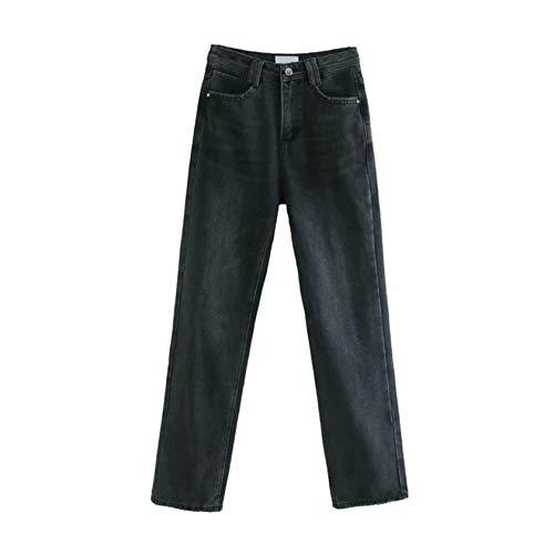Pantalones Vaqueros Rectos de Cintura Alta de Pierna Ancha para Mujer Pantalones Demin con Bolsillos de Primavera y otoño para Mujer Black M