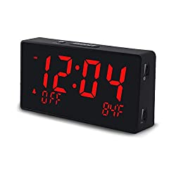 Homicial Digital Alarm Clock, Electric Clocks for Bedroom Bedside with USB, Large LED Display, 0-100% Dimmer, Snooze, Adjustable Volume, 12/24H, and Temperature, Adapter Included, Plug in Powered