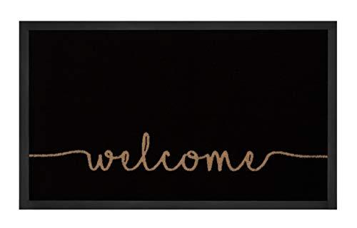 Hanse Home Fußmatte Schmutzfangmatte Cozy Welcome Anthrazit Creme 45x75 cm