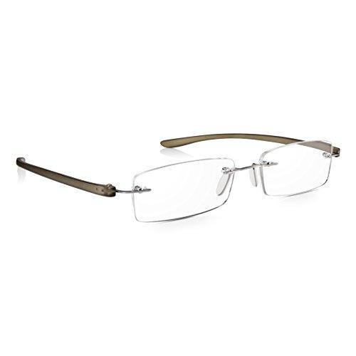 Read Optics Hombre/Mujer Gafas de Lectura Montura al Aire: Lentes Graduadas + 2.5 Dioptrías Anti-UV/AntiReflejos – Varillas Flexibles y Resistentes de Policarbonato Gris – Resistentes, No Se Caerán