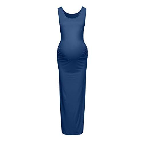 Vestidos de maternidad para mujer, vestido de embarazo para mujer, ropa de verano sólida para mujer embarazada, sesión de fotos diaria, Pascua, azul, XL