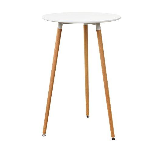 [en.casa] Table de Bar Comptoir de Bar Ronde en Design Rétro MDF Mat Laqué Blanc 70 x 107cm