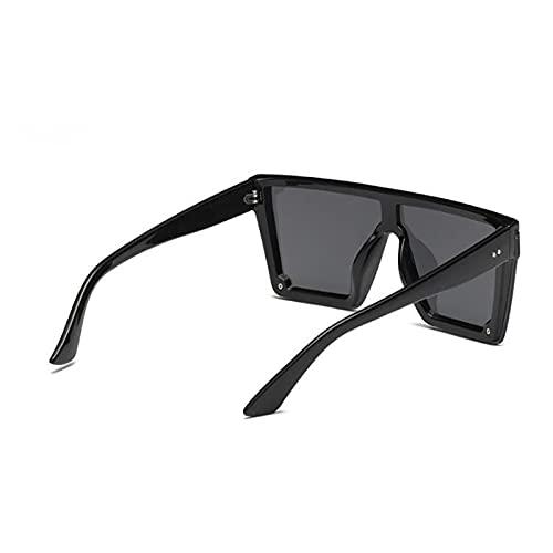 XinLuMing Gafas de Sol Oversizadas Top Gafas de Sol Plaza para Mujer Lente Plana Marco de plástico UV400 Vintage Original Moda Unisex Gafas para Hombre (Color : D)
