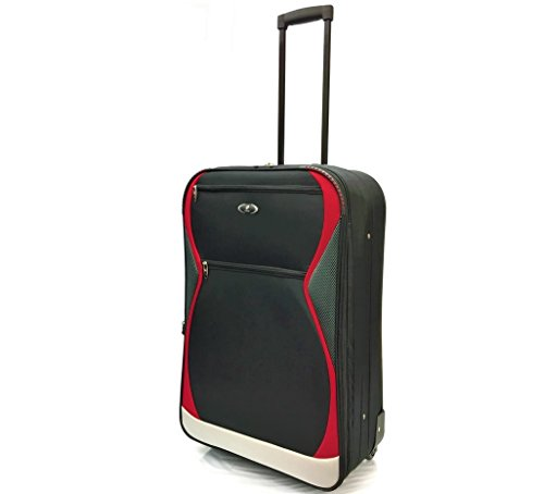 """26"""" Medium Super Lightweight Expandable Durable Hold Luggage Suitcase Trolley Case Travel Bags with 2 Wheels (26' Medium, Black/Red 1128)"""