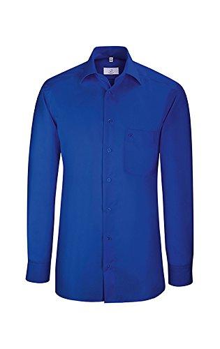 GREIFF Herren Hemd mit New Kent Kragen   Kragenstäbchen enthalten   Brusttasche mit Logostickerei   Weitenverstellbare Manschette   Mit Rückenfalte   Farbe: Royalblau   Größe: 41/42