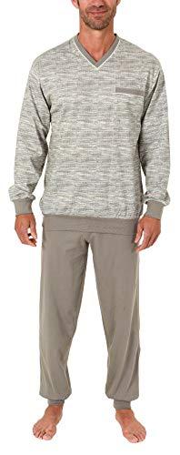 Edler Herren Pyjama Schlafanzug lang mit Bündchen - auch in Übergrössen bis Gr. 70-191 101 90 522, Größe2:48, Farbe:grau