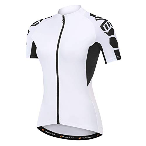 NUCKILY Radtrikot Bike Shirt Schwarz und Weiß Angel Damen Breathable Bicycle Top