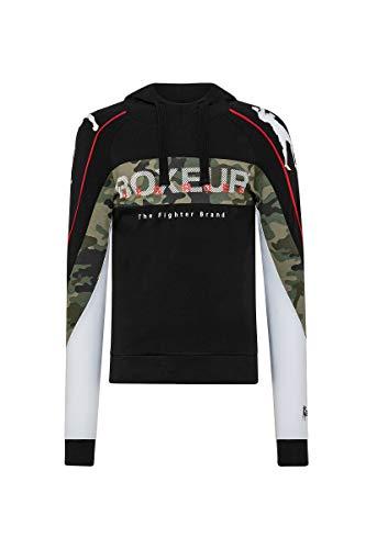 BOXEUR DES RUES - T-Shirt con Cappuccio Nera con Inserti Camouflage, Uomo, M