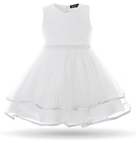 CIELARKO Baby Mädchen Kleid Blumen Spitze Tüll Taufkleid Kinder Hochzeits Festlich Kleider, Weiß, 4-6 Monate
