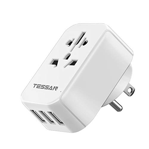 European to US Plug Adapter with 3 USB, TESSAN Type B UK to US Power Adapter, EU Europe Australia China to USA American Outlet Adaptor