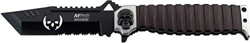 MTech USA MT-A820S Spring Assist Folding Knife, Black Half-Serrated Blade, Silver/Black Handle, 5-Inch Closed