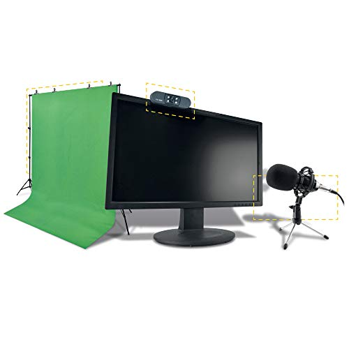 Kit Complet - Pack streamer pro HD 4 en 1 : micro + webcam + fond vert + 2 trépieds x 2 - streaming