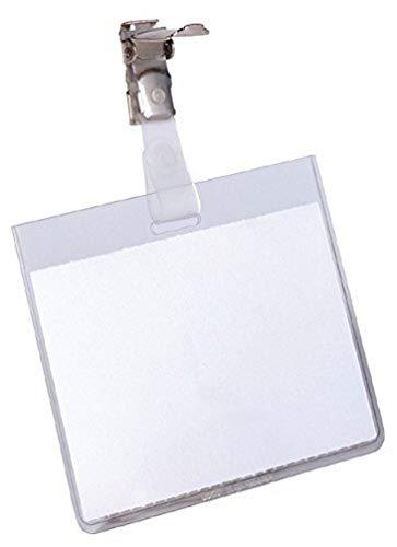 Durable 800319 Namensschild (mit Clip, 60 x 90 mm, Kunststoff) Packung à 25 Stück transparent