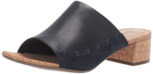 Clarks Women's Elisa Abby Heeled Sandal, Navy Leather/Suede Combi, 090 M US