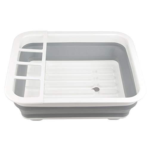 HilMe - Escurreplatos de mesa con agujero de drenaje para el hogar, diseño de fregadero, organizador portátil de TPR y cuenco de almacenamiento práctico para utensilios