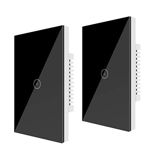 Wifi (2 Packs) Smart Light Switch 1 Gang Jinvoo US Panel Switch, Smart Touch Switch, Smart Phone Remote Vetro Temperato, Timer, Nessun Hub richiesto,