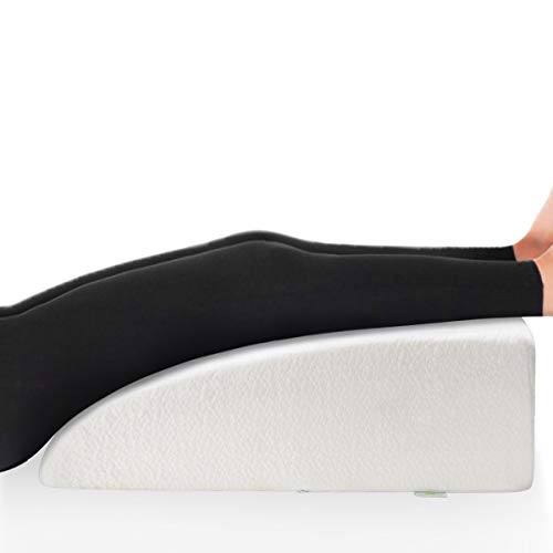 """OasisSpace 8"""" Leg Rest Pillow, Leg Elevation Pillow Bed Wedge Post Surgery Elevated Cushion 1.5"""" Memory Foam Recovery Wedge for Back, Hip and Knee Pain Relief, Foot and Ankle Injury - Removable Cover"""
