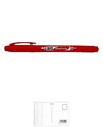 トンボ鉛筆 油性サインペンモノツイン極細E 赤 OS-TME25 【× 4 本 】 + 画材屋ドットコム ポストカードA