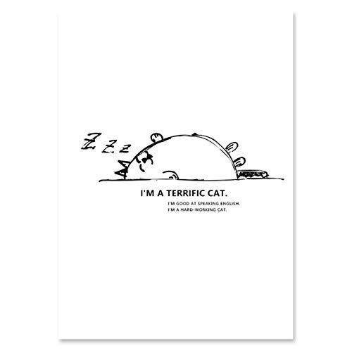 xwpox Back and White Cartoon schattige dieren canvas schilderij Wall Art Cat Poster en afdrukken minimalistische wandafbeeldingen voor baby kamer Decor, A 60x80cm (24x32inch)