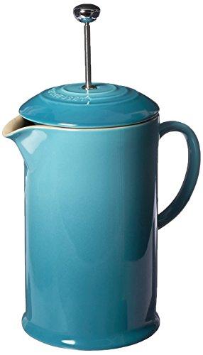 Le Creuset PG8200-1017 Stoneware French Press Coffee Maker, 27 oz, Caribbean